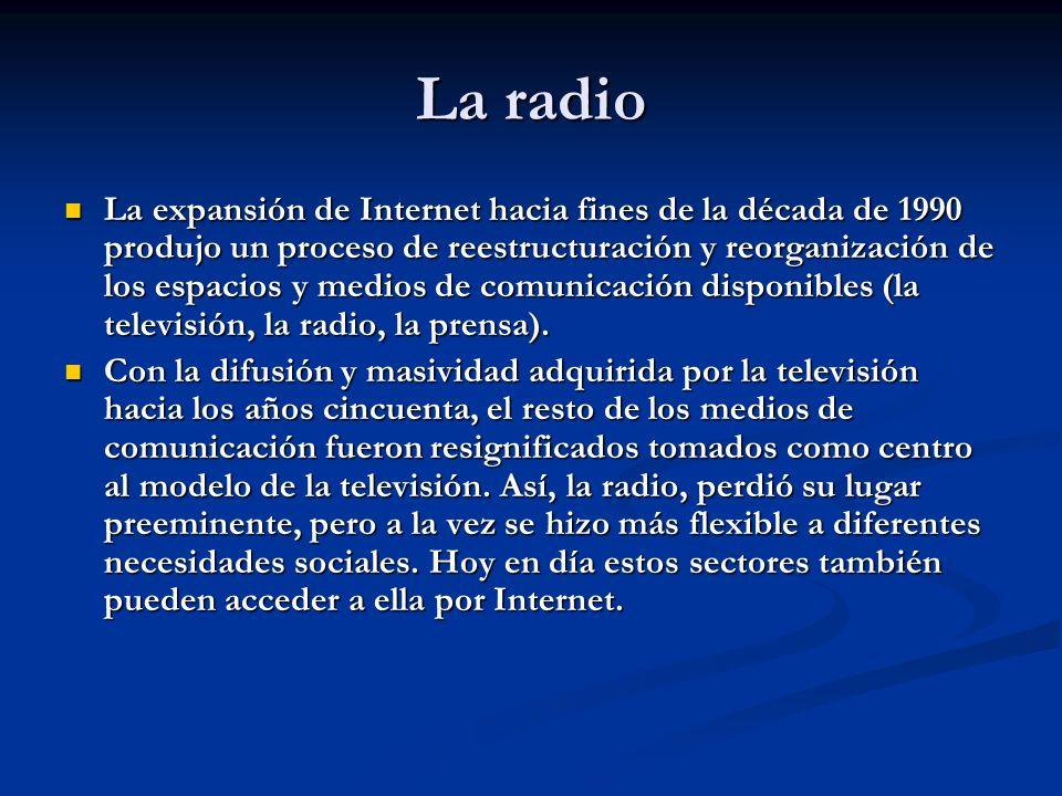 La radio La expansión de Internet hacia fines de la década de 1990 produjo un proceso de reestructuración y reorganización de los espacios y medios de