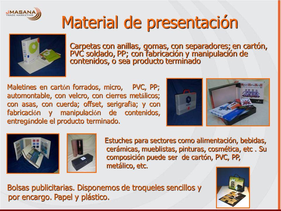 Material de presentación Carpetas con anillas, gomas, con separadores; en cartón, PVC soldado, PP; con fabricación y manipulación de contenidos, o sea