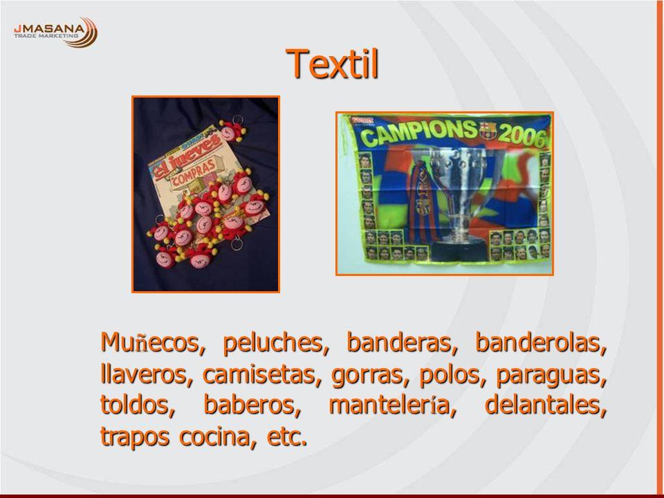 Textil Muñecos, peluches, banderas, banderolas, llaveros, camisetas, gorras, polos, paraguas, toldos, baberos, mantelería, delantales, trapos cocina,