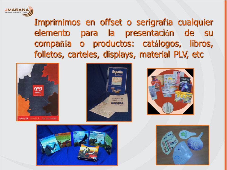 Imprimimos en offset o serigrafía cualquier elemento para la presentación de su compañía o productos: catálogos, libros, folletos, carteles, displays,