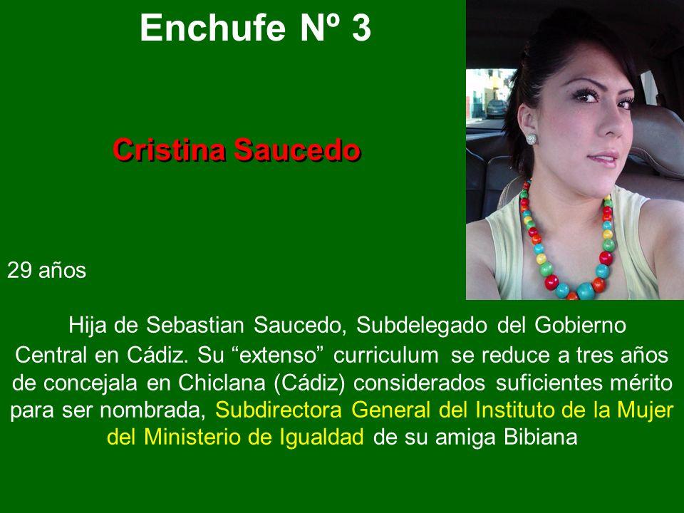 Enchufe Nº 3 Cristina Saucedo 29 años Hija de Sebastian Saucedo, Subdelegado del Gobierno Central en Cádiz.