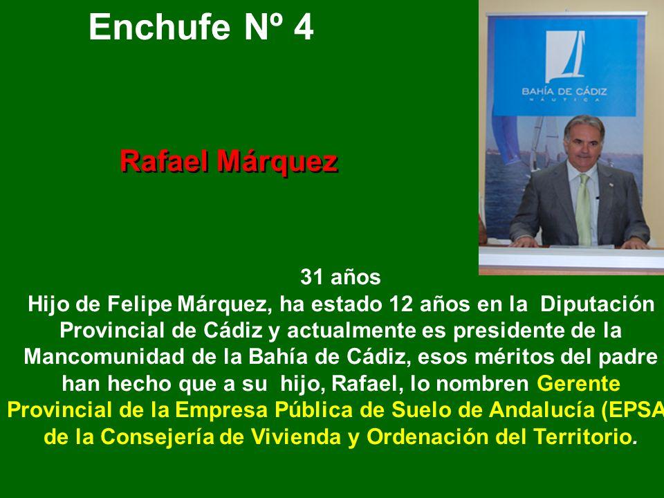 Enchufe Nº 3 Cristina Saucedo 29 años Hija de Sebastian Saucedo, Subdelegado del Gobierno Central en Cádiz. Su extenso curriculum se reduce a tres año