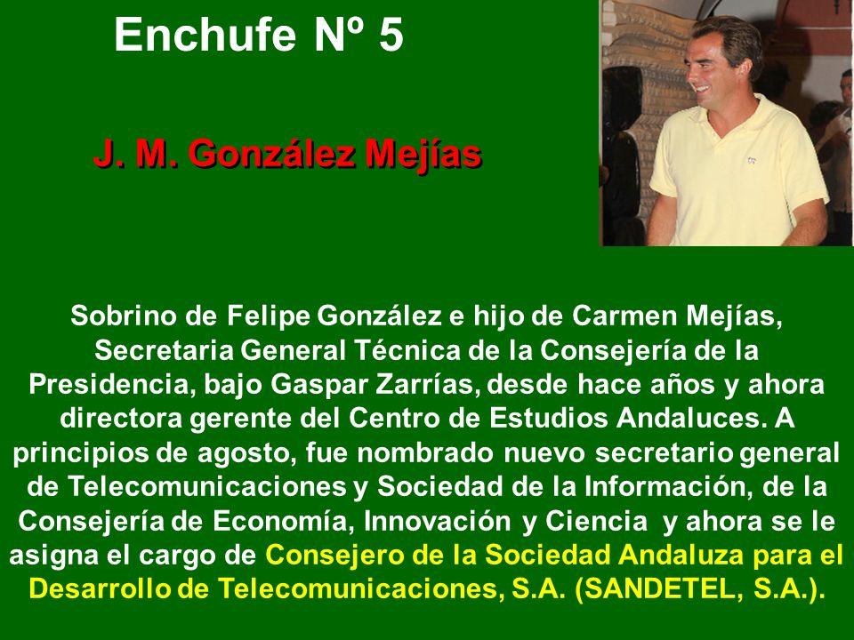 Enchufe Nº 4 31 años Hijo de Felipe Márquez, ha estado 12 años en la Diputación Provincial de Cádiz y actualmente es presidente de la Mancomunidad de