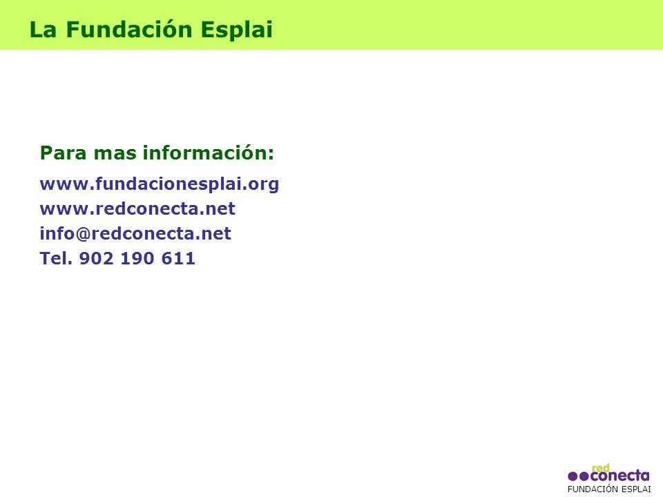 FUNDACIÓN ESPLAI La Fundación Esplai Para mas información: www.fundacionesplai.org www.redconecta.net info@redconecta.net Tel.