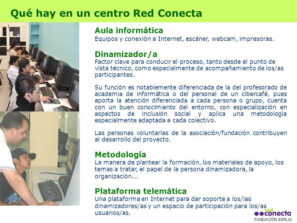 FUNDACIÓN ESPLAI Que actividades se realizan Cursos de formación Cursos de alfabetización digital e iniciación básica a la informática, con el apoyo personal de las personas dinamizadoras.