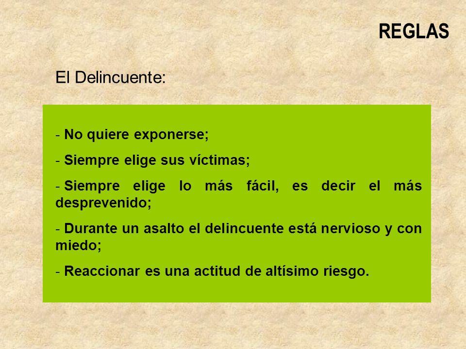 REGLAS El Delincuente: - No quiere exponerse; - Siempre elige sus víctimas; - Siempre elige lo más fácil, es decir el más desprevenido; - Durante un asalto el delincuente está nervioso y con miedo; - Reaccionar es una actitud de altísimo riesgo.
