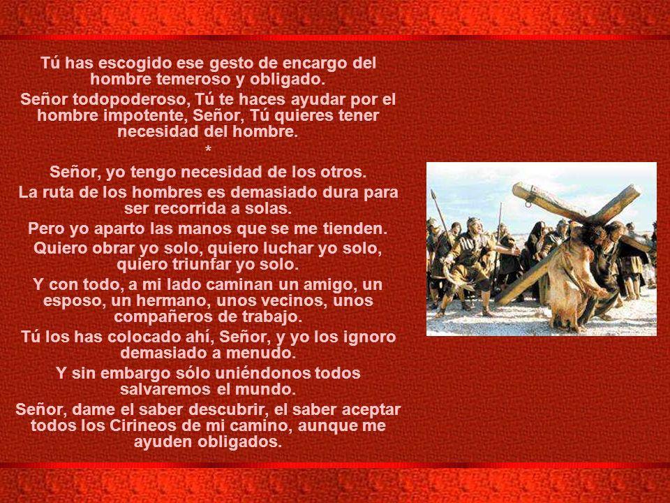 V ESTACION: EL CIRINEO AYUDA A JESUS A LLEVAR LA CRUZ.