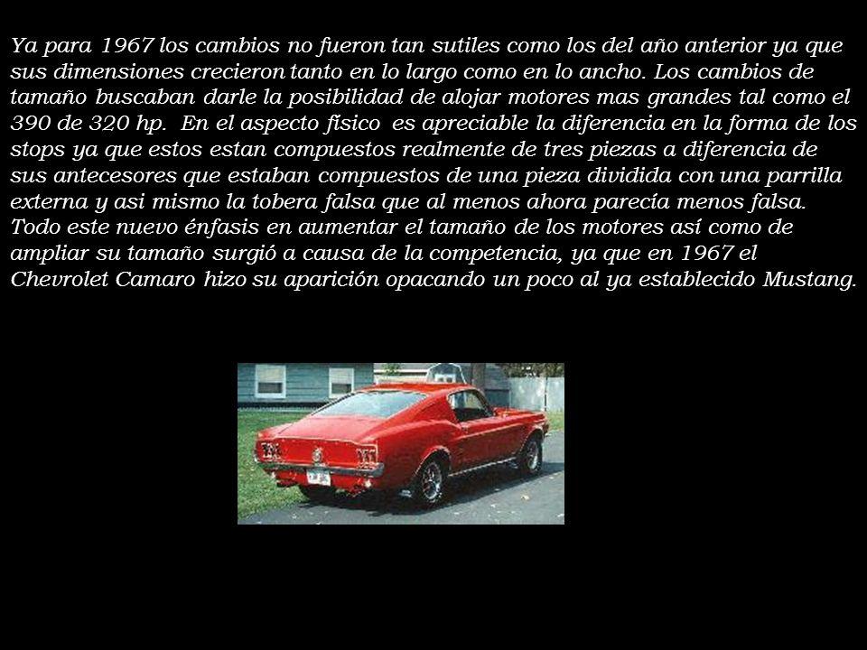 1966, 1967 y 1968 De aqui en adelante, comenzaron a darse una serie de cambios al automovil año tras año algunos de ellos orientados al mejoramiento d