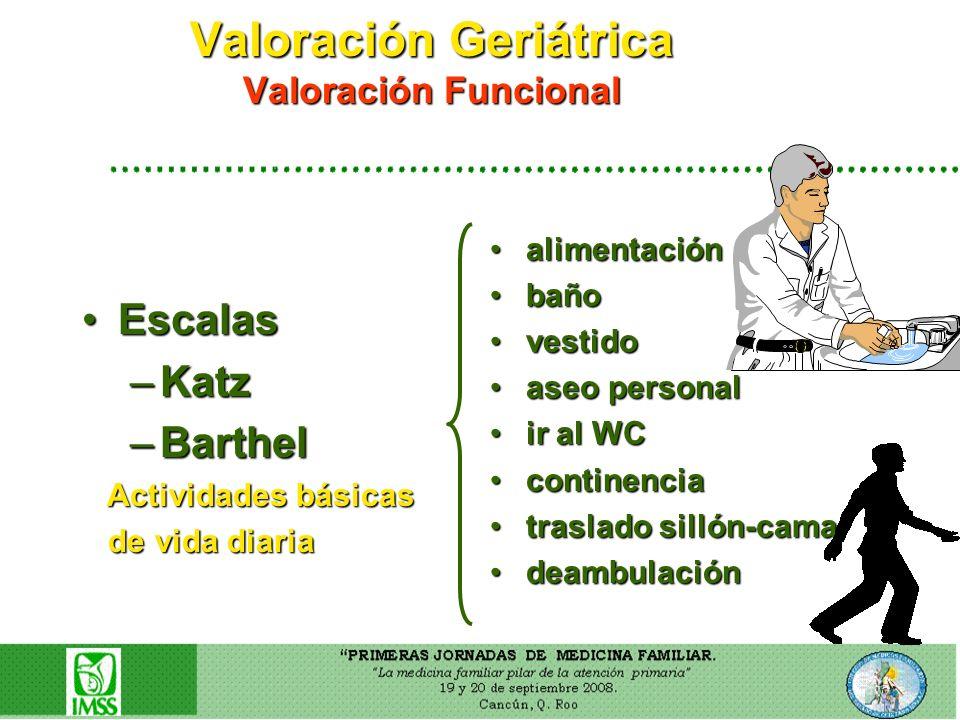 Valoración Geriátrica Valoración Funcional EscalasEscalas –Katz –Barthel Actividades básicas Actividades básicas de vida diaria de vida diaria aliment