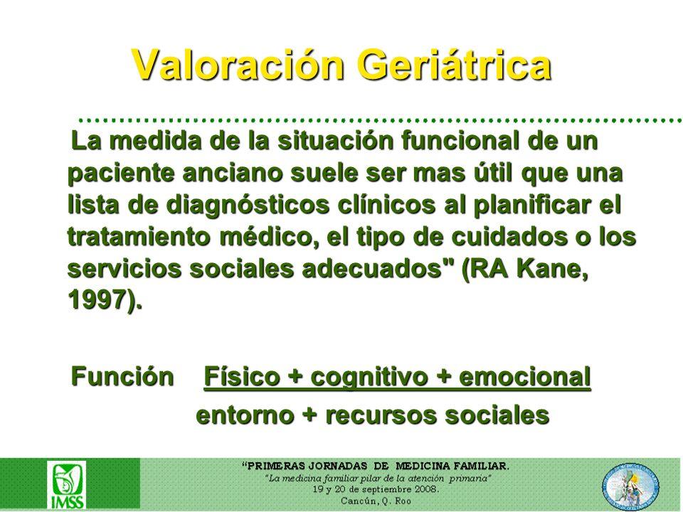 Valoración Geriátrica La medida de la situación funcional de un paciente anciano suele ser mas útil que una lista de diagnósticos clínicos al planific