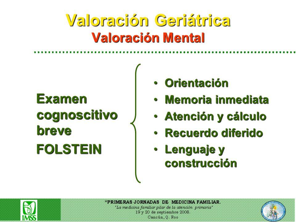 Valoración Geriátrica Valoración Mental Examen cognoscitivo breve Examen cognoscitivo breve FOLSTEIN FOLSTEIN OrientaciónOrientación Memoria inmediata