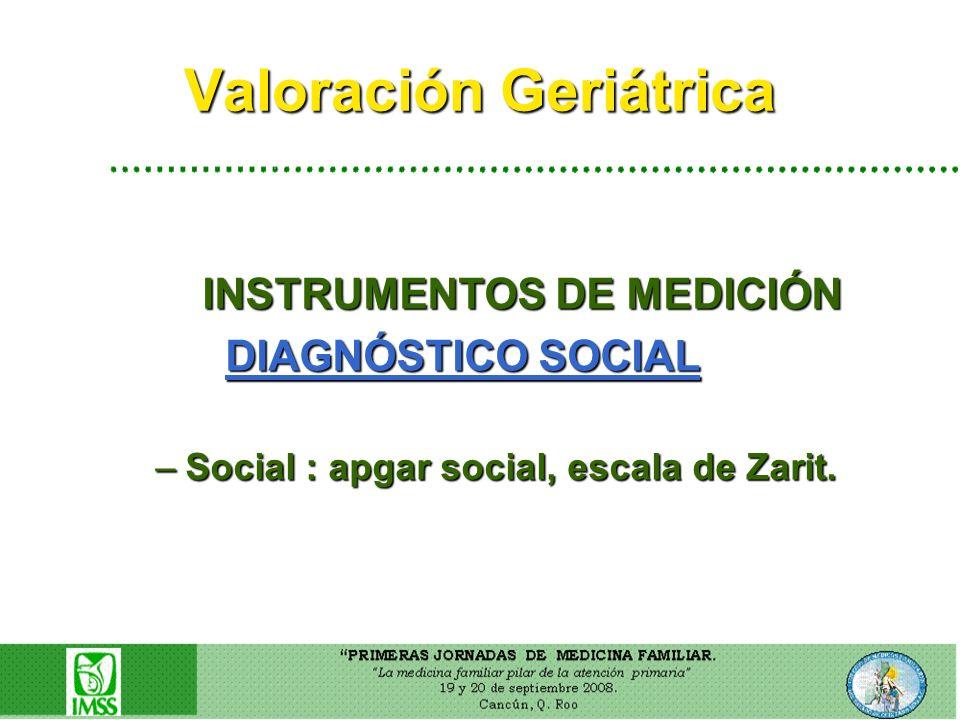 Valoración Geriátrica INSTRUMENTOS DE MEDICIÓN INSTRUMENTOS DE MEDICIÓN DIAGNÓSTICO SOCIAL DIAGNÓSTICO SOCIAL –Social : apgar social, escala de Zarit.