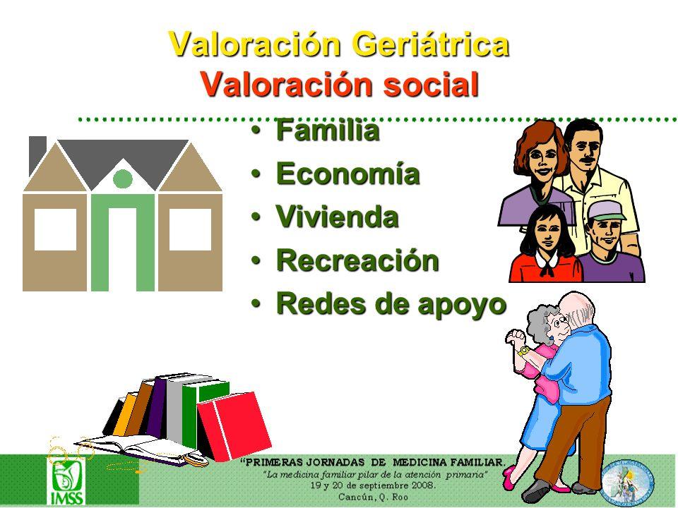 Valoración Geriátrica Valoración social FamiliaFamilia EconomíaEconomía ViviendaVivienda RecreaciónRecreación Redes de apoyoRedes de apoyo