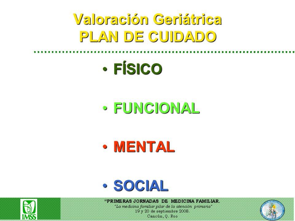 Valoración Geriátrica PLAN DE CUIDADO FÍSICOFÍSICO FUNCIONALFUNCIONAL MENTALMENTAL SOCIALSOCIAL
