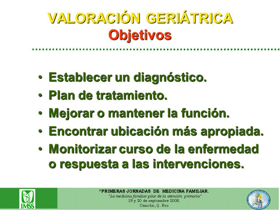 VALORACIÓN GERIÁTRICA Objetivos Establecer un diagnóstico.Establecer un diagnóstico. Plan de tratamiento.Plan de tratamiento. Mejorar o mantener la fu