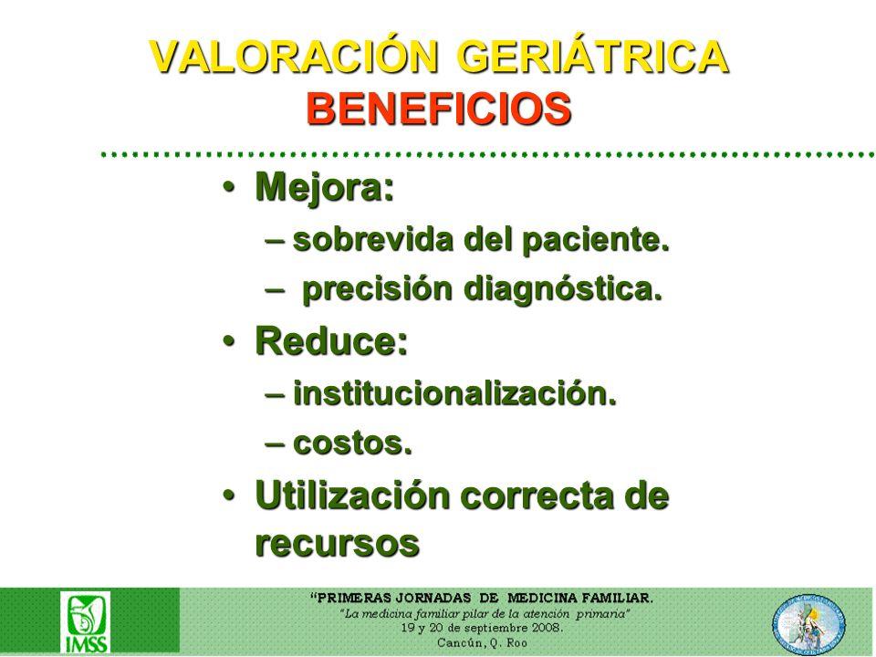 VALORACIÓN GERIÁTRICA BENEFICIOS Mejora:Mejora: –sobrevida del paciente. – precisión diagnóstica. Reduce:Reduce: –institucionalización. –costos. Utili