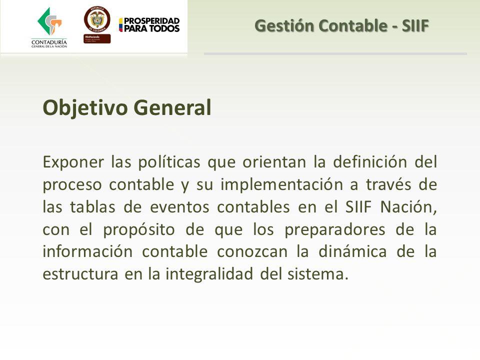 Objetivo General Exponer las políticas que orientan la definición del proceso contable y su implementación a través de las tablas de eventos contables