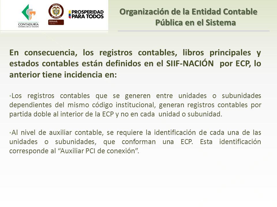 En consecuencia, los registros contables, libros principales y estados contables están definidos en el SIIF-NACIÓN por ECP, lo anterior tiene incidenc