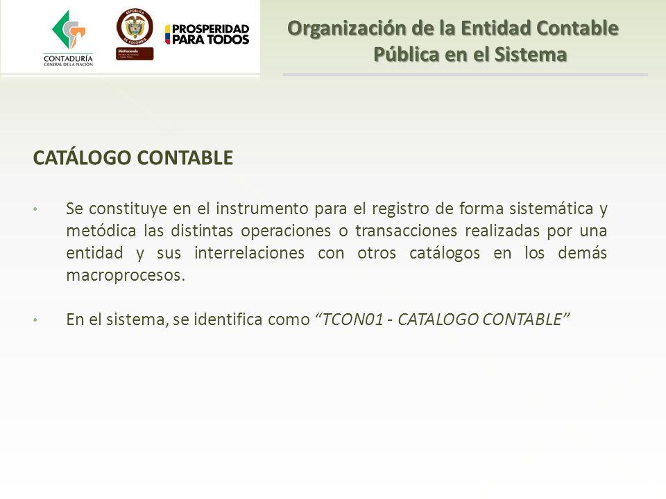 CATÁLOGO CONTABLE Se constituye en el instrumento para el registro de forma sistemática y metódica las distintas operaciones o transacciones realizada