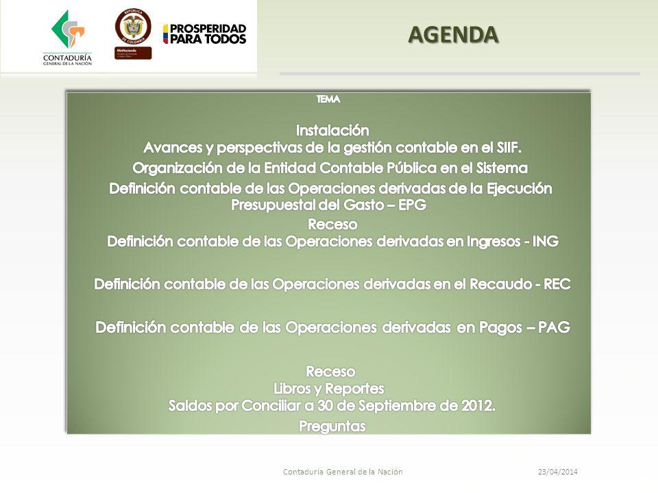 23/04/2014 Contaduría General de la Nación Definición contable de las operaciones derivadas en ingresos -ING Contingencia