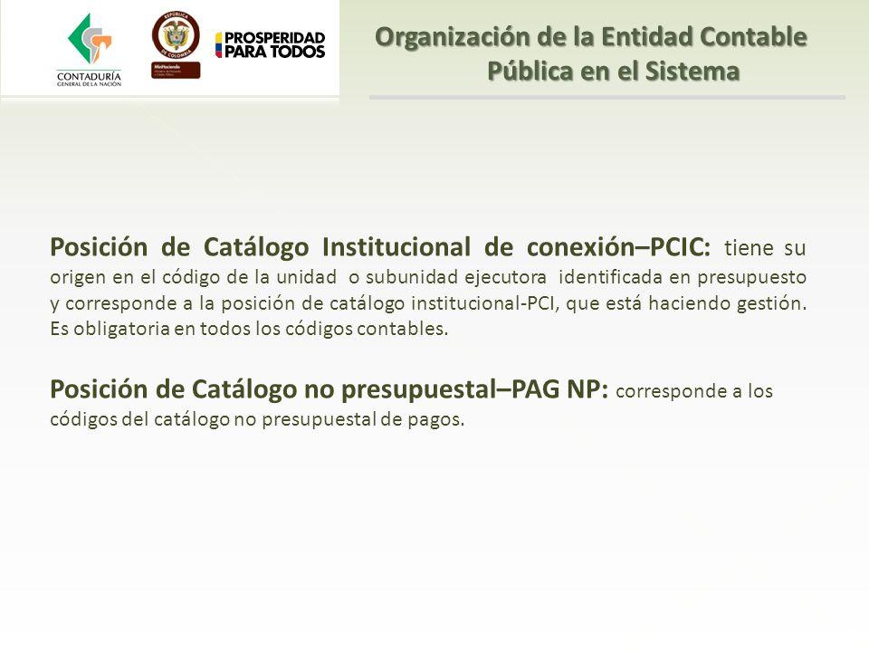 Posición de Catálogo Institucional de conexión–PCIC: tiene su origen en el código de la unidad o subunidad ejecutora identificada en presupuesto y cor