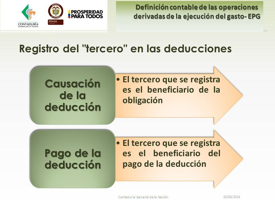 El tercero que se registra es el beneficiario de la obligación Causación de la deducción El tercero que se registra es el beneficiario del pago de la