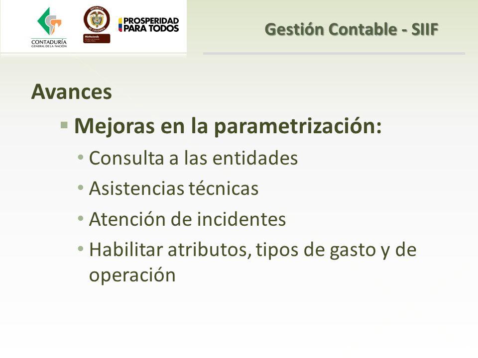 Avances Mejoras en la parametrización: Consulta a las entidades Asistencias técnicas Atención de incidentes Habilitar atributos, tipos de gasto y de o