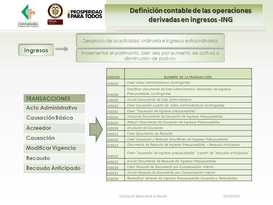 23/04/2014 Contaduría General de la Nación Definición contable de las operaciones derivadas en ingresos -ING TRANSACCIONES Acto Administrativo Causaci