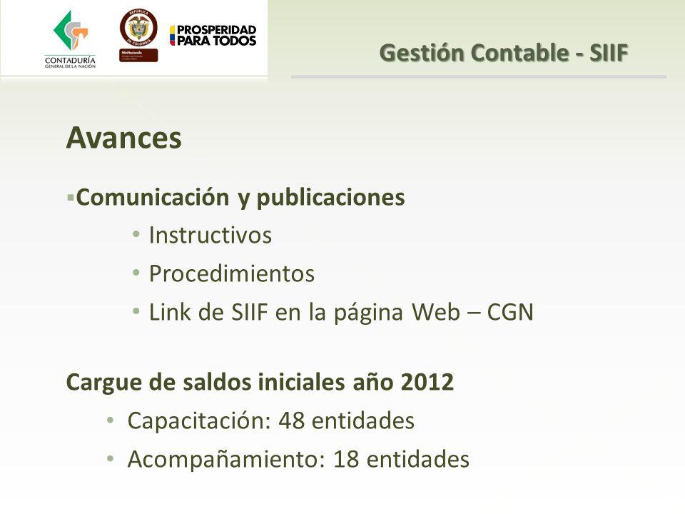 Avances Comunicación y publicaciones Instructivos Procedimientos Link de SIIF en la página Web – CGN Cargue de saldos iniciales año 2012 Capacitación: