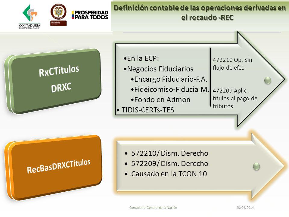 23/04/2014 Contaduría General de la Nación En la ECP: Negocios Fiduciarios Encargo Fiduciario-F.A. Fideicomiso-Fiducia M. Fondo en Admon TIDIS-CERTs-T