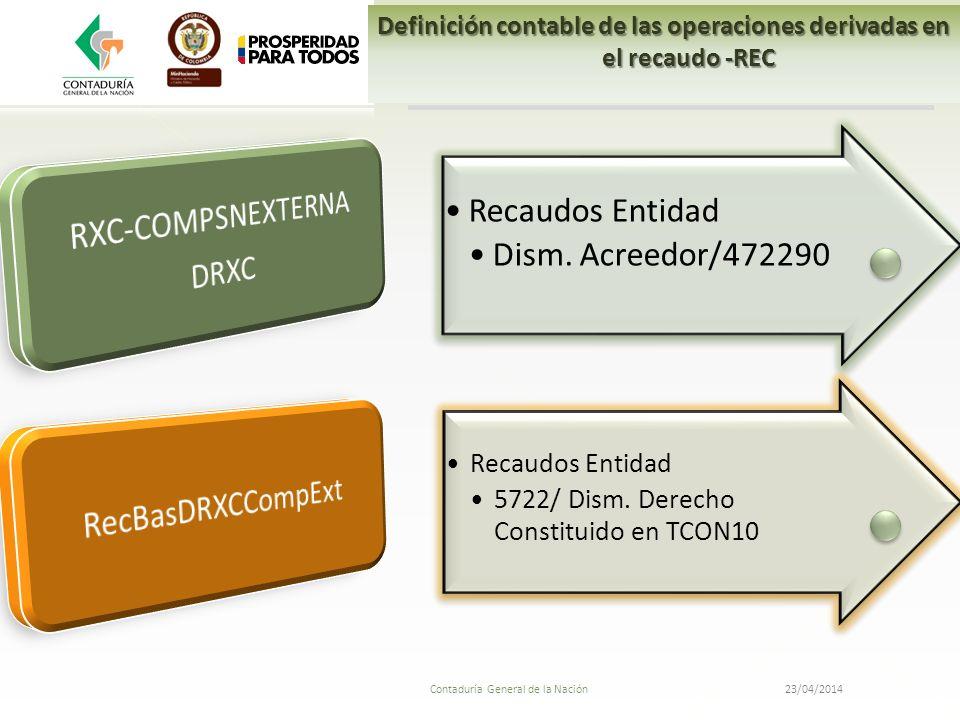 23/04/2014 Contaduría General de la Nación Recaudos Entidad Dism. Acreedor/472290 Recaudos Entidad 5722/ Dism. Derecho Constituido en TCON10 Definició