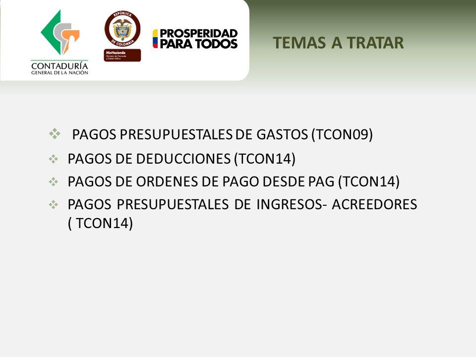 TEMAS A TRATAR PAGOS PRESUPUESTALES DE GASTOS (TCON09) PAGOS DE DEDUCCIONES (TCON14) PAGOS DE ORDENES DE PAGO DESDE PAG (TCON14) PAGOS PRESUPUESTALES