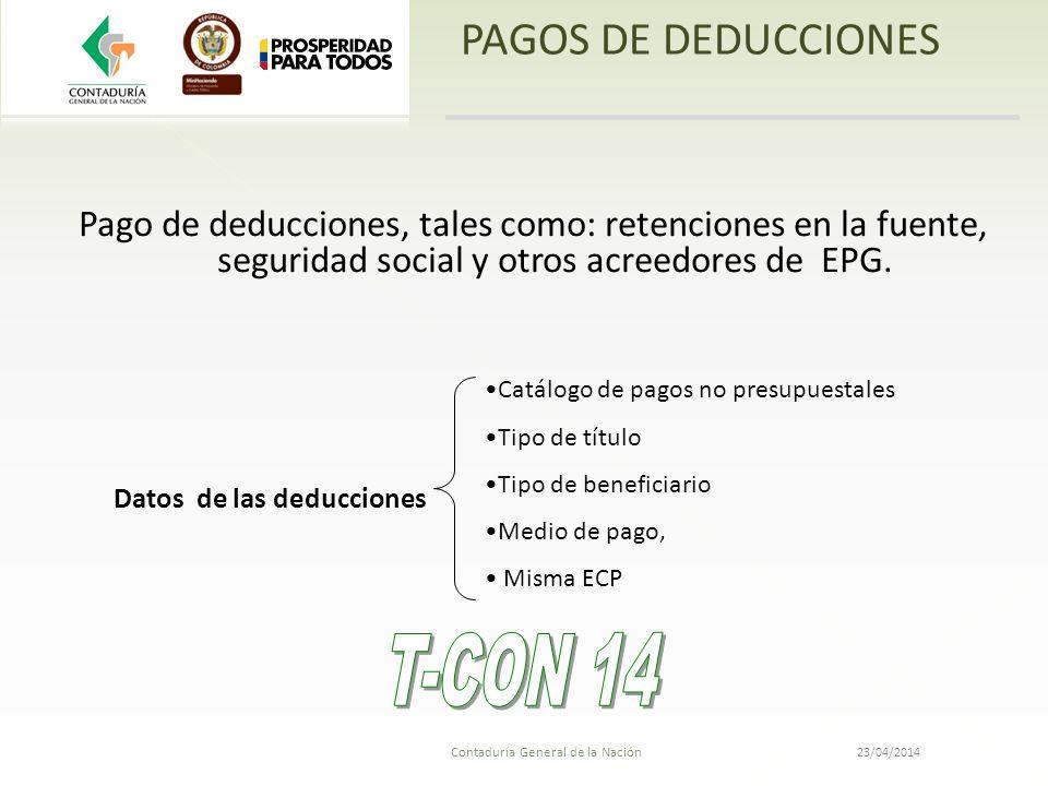 Contaduría General de la Nación 23/04/2014 PAGOS DE DEDUCCIONES Pago de deducciones, tales como: retenciones en la fuente, seguridad social y otros ac