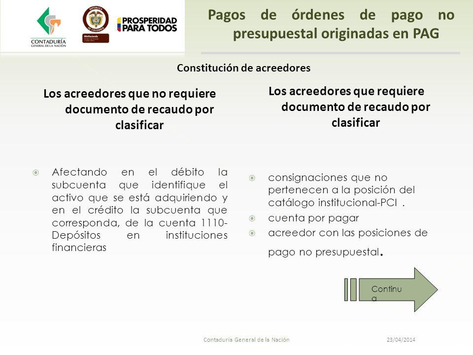 23/04/2014 Contaduría General de la Nación Pagos de órdenes de pago no presupuestal originadas en PAG Los acreedores que no requiere documento de reca