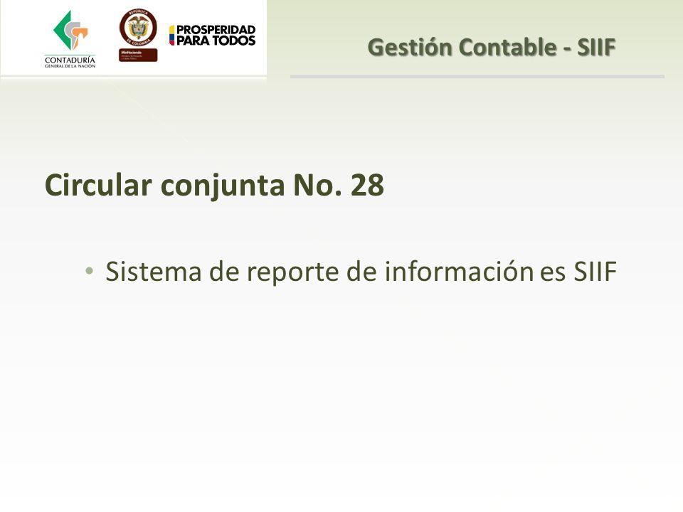Circular conjunta No. 28 Sistema de reporte de información es SIIF Gestión Contable - SIIF