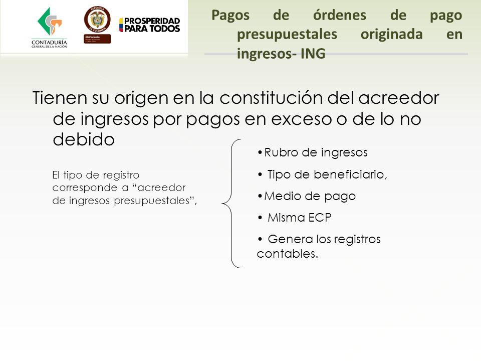 Pagos de órdenes de pago presupuestales originada en ingresos- ING Tienen su origen en la constitución del acreedor de ingresos por pagos en exceso o