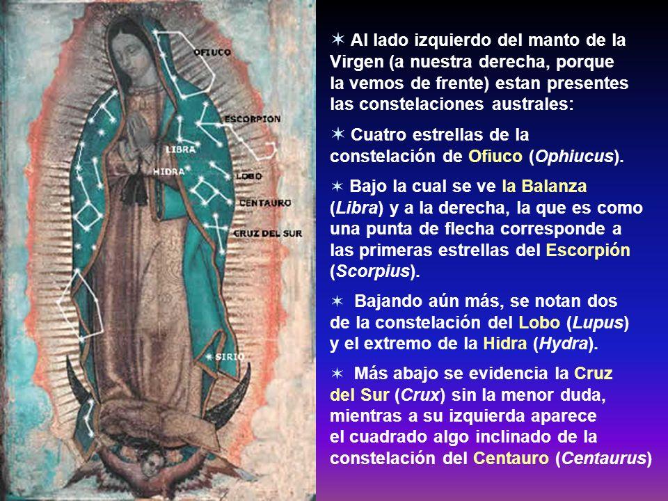 8. Las estrellas que se ven en el manto de María corresponden a la exacta configuración y posición que tenían en el cielo de México el día y la hora e