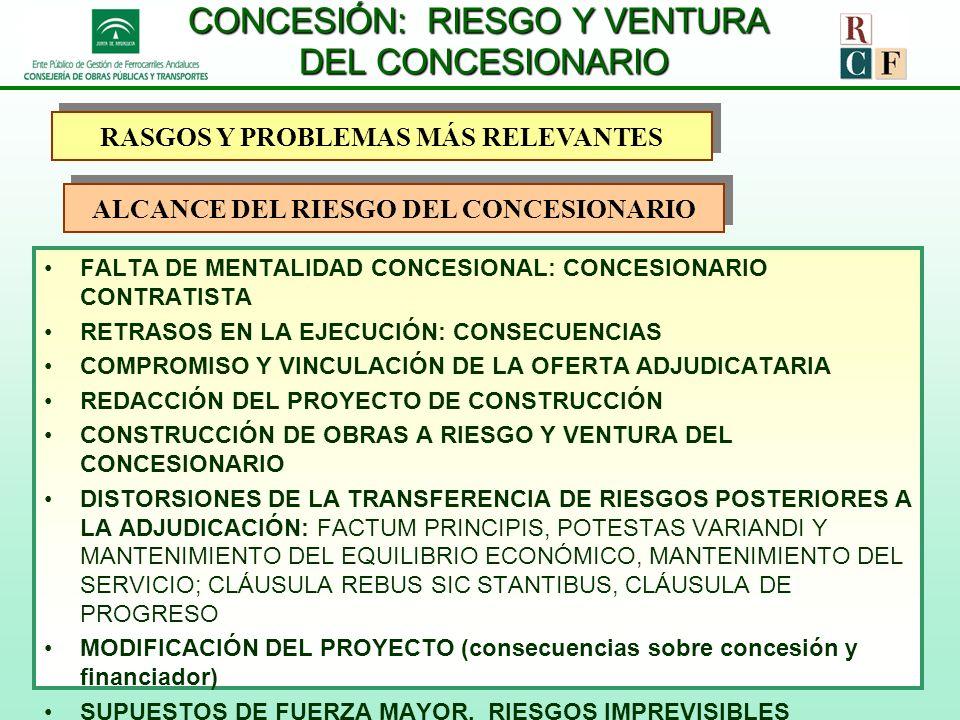CONCESIÓN: RIESGO Y VENTURA DEL CONCESIONARIO FALTA DE MENTALIDAD CONCESIONAL: CONCESIONARIO CONTRATISTA RETRASOS EN LA EJECUCIÓN: CONSECUENCIAS COMPR