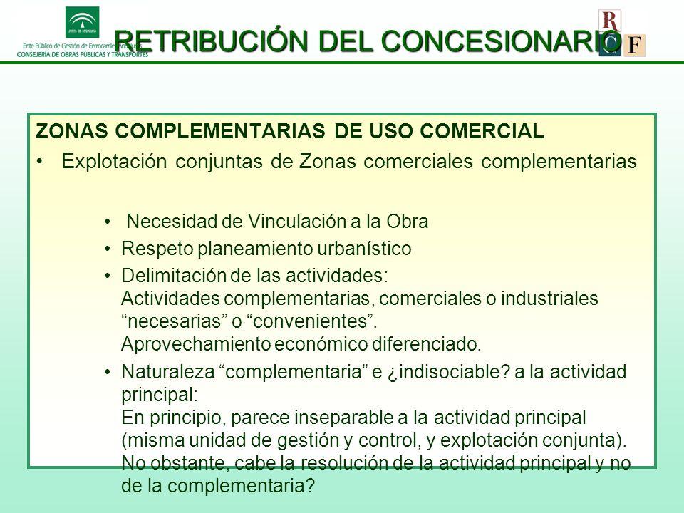 RETRIBUCIÓN DEL CONCESIONARIO ZONAS COMPLEMENTARIAS DE USO COMERCIAL Explotación conjuntas de Zonas comerciales complementarias Necesidad de Vinculaci
