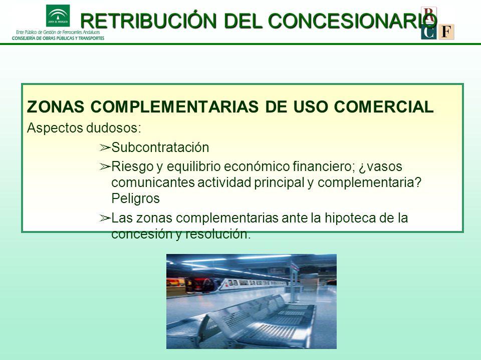 RETRIBUCIÓN DEL CONCESIONARIO ZONAS COMPLEMENTARIAS DE USO COMERCIAL Aspectos dudosos: Subcontratación Riesgo y equilibrio económico financiero; ¿vaso