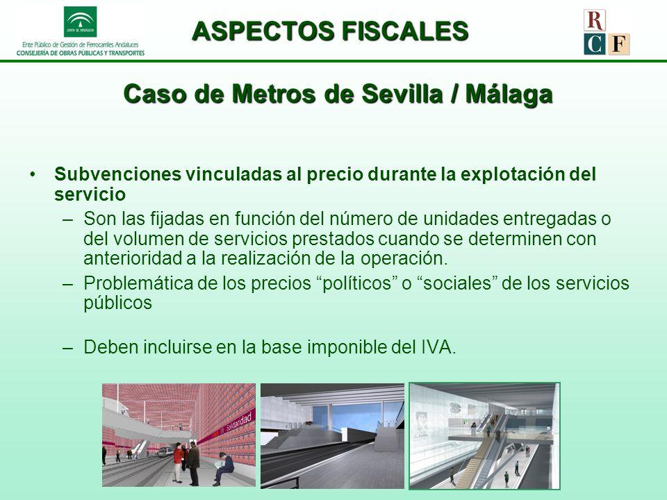 ASPECTOS FISCALES Caso de Metros de Sevilla / Málaga Subvenciones vinculadas al precio durante la explotación del servicio –Son las fijadas en función