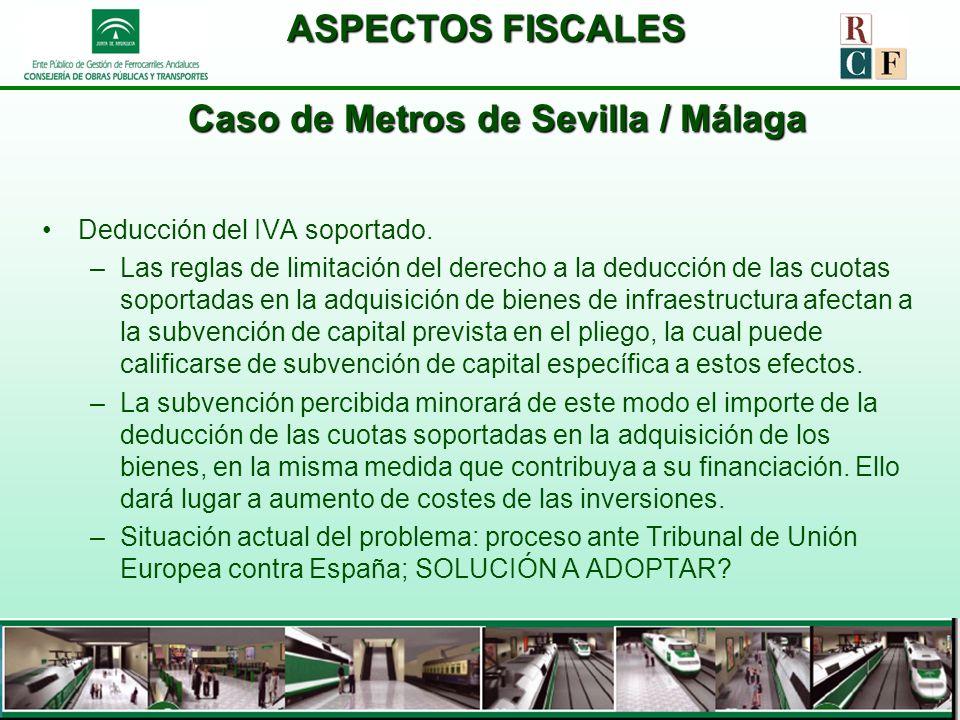ASPECTOS FISCALES Caso de Metros de Sevilla / Málaga Deducción del IVA soportado. –Las reglas de limitación del derecho a la deducción de las cuotas s