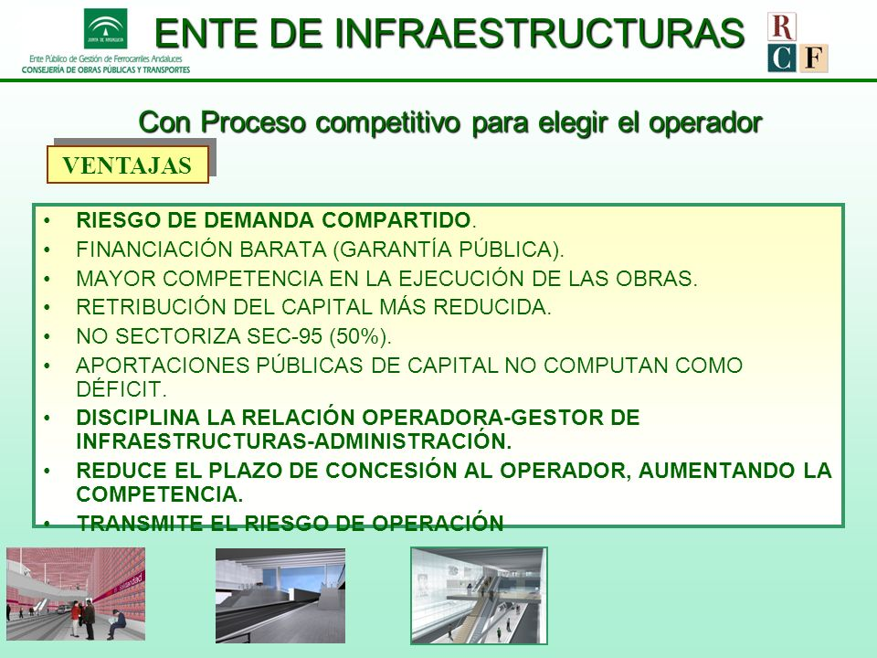 ENTE DE INFRAESTRUCTURAS Con Proceso competitivo para elegir el operador RIESGO DE DEMANDA COMPARTIDO. FINANCIACIÓN BARATA (GARANTÍA PÚBLICA). MAYOR C