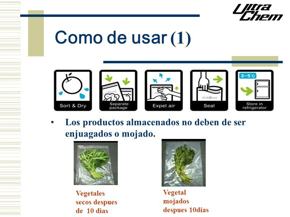 Como de usar (1) Los productos almacenados no deben de ser enjuagados o mojado. Vegetales secos despues de 10 dias Vegetal mojados despues 10dias