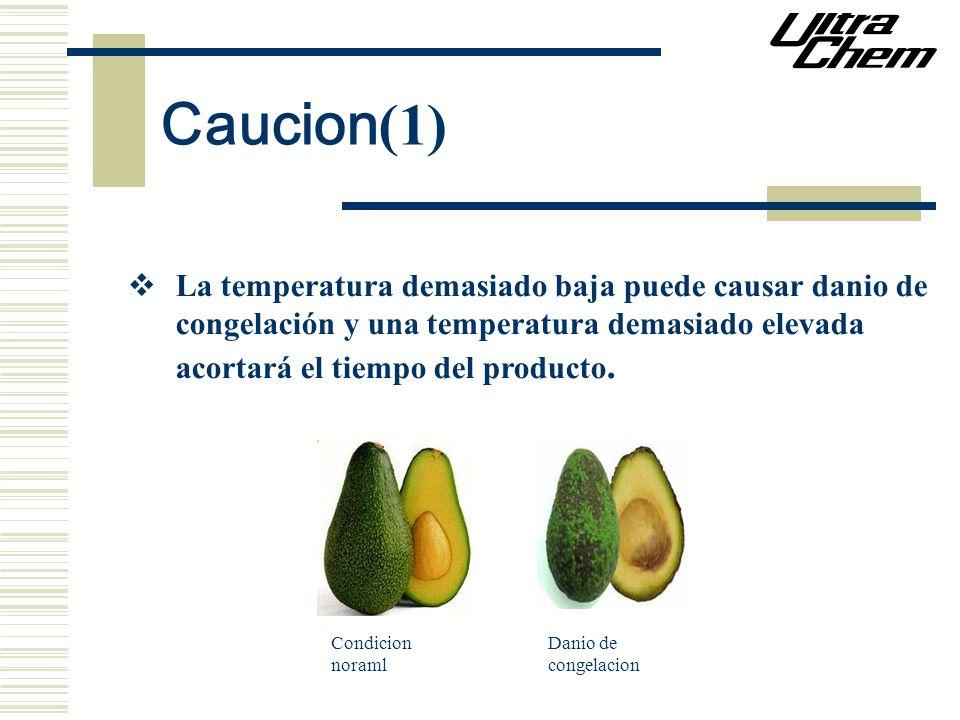 Caucion (1) La temperatura demasiado baja puede causar danio de congelación y una temperatura demasiado elevada acortará el tiempo del producto. Condi