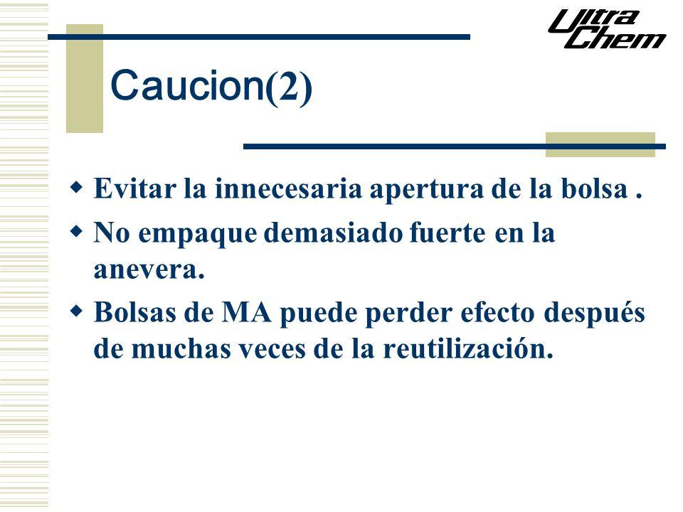 Caucion (2) Evitar la innecesaria apertura de la bolsa. No empaque demasiado fuerte en la anevera. Bolsas de MA puede perder efecto después de muchas