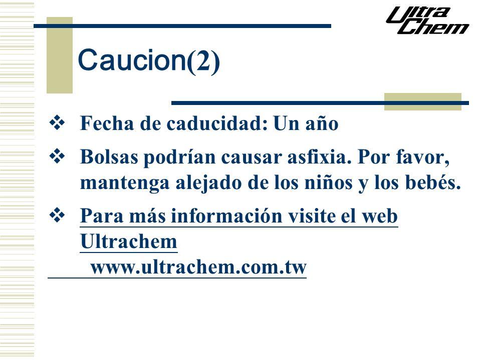 Caucion (2) Fecha de caducidad: Un año Bolsas podrían causar asfixia. Por favor, mantenga alejado de los niños y los bebés. Para más información visit