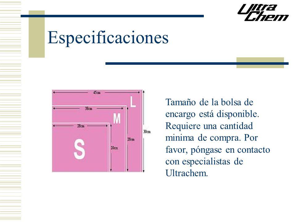 Especificaciones Tamaño de la bolsa de encargo está disponible.