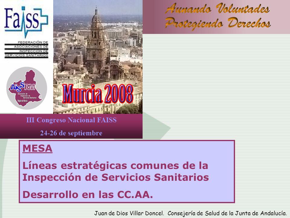 III Congreso Nacional FAISS 24-26 de septiembre MESA Líneas estratégicas comunes de la Inspección de Servicios Sanitarios Desarrollo en las CC.AA. Jua