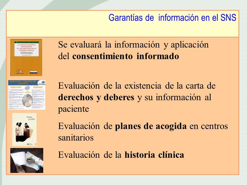Garantías de información en el SNS Se evaluará la información y aplicación del consentimiento informado Evaluación de la existencia de la carta de der